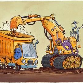 Mike_Deas_Illustration_kootenayLibraryCard_Trucks_Diggers