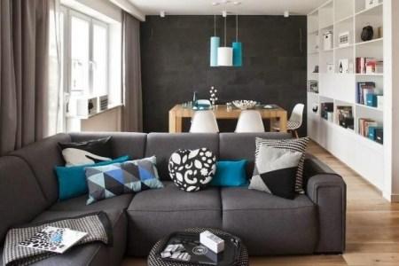 Wohnzimmer Modern Einrichten Grau Weiss Blaue Akzente