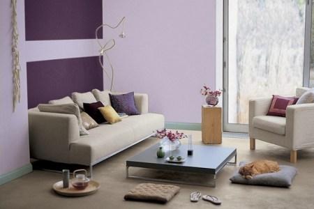 Moderne Wandgestaltung Wohnzimmer Lila Ideen Fr