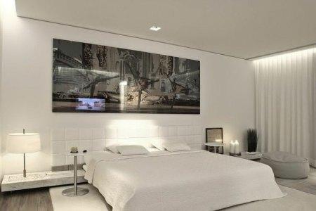 schlafzimmer beispiele weiss einrichtung modern fussen grau laminat wandbild