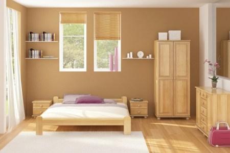 schlafzimmer farbideen un wand gestalten bett holz kleiderschrank