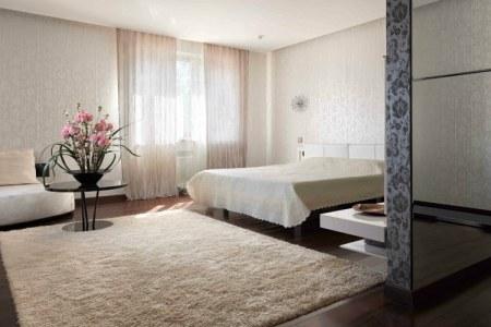 schlafzimmer farbideen creme rosa nuancen dunkler holzen