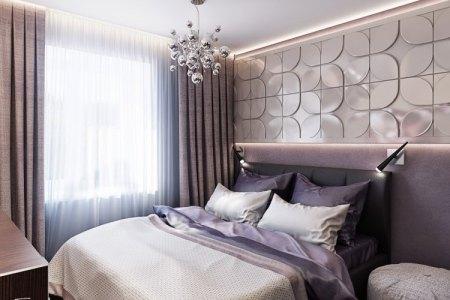 schlafzimmer farbideen lila nuancen indirekte led beleuchtung wandpaneele