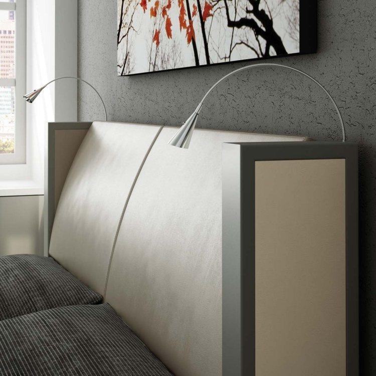 Perfekt ... Leseleuchte Bett Modern Schlafzimmer Kopfteil Gepostert Beige Grau  Wandputz Bild ...