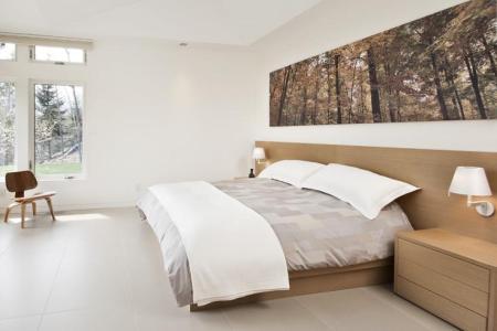 bilder schlafzimmer wald motiv holzbett breiter kopfteil
