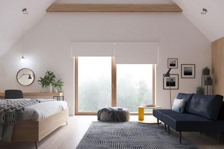 skandinavisch einrichten gro%c3%9fes schlafzimmer gro%c3%9fe fenster dachschr%c3%a4ge