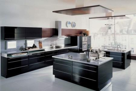 dco moderne noir blanc cuisine ilot central placards