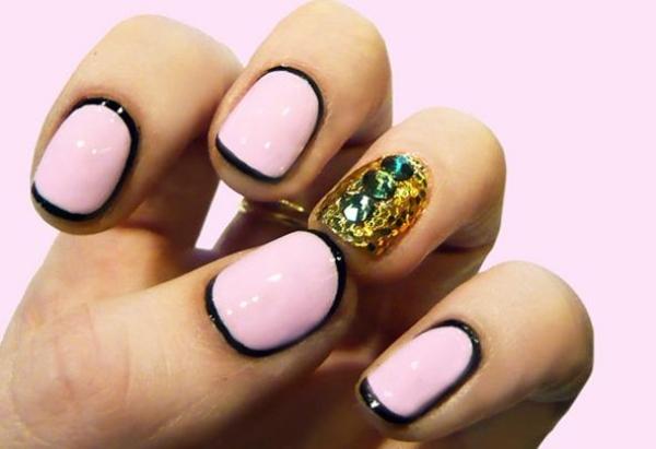 ongles-nail-art tendance rose noir paillettes dorées