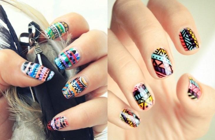 nail-art-motif-azteque-couleur-bleu-jaune-rose