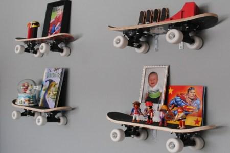 astuce rangement id%c3%a9e d%c3%a9co chambre enfant planche skateboard