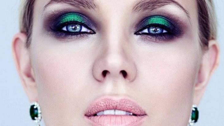 maquillage de soirée 2015-fard-paupieres-vert-emeraude-eye-liner-mascara-rouge-levres-rose-poudre