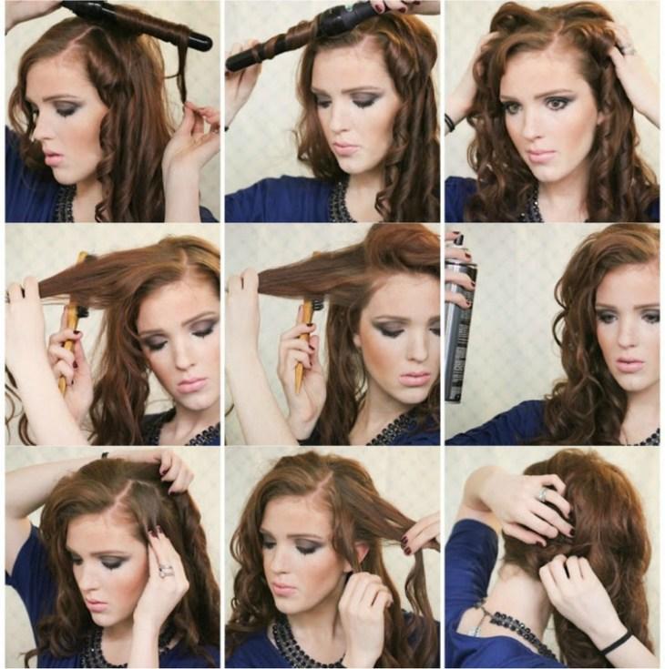 coiffure pour nouvel an cheveux-longs-boucles-cote