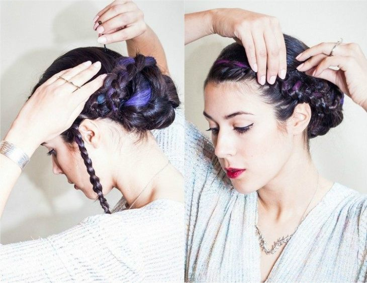coiffure pour nouvel an party-chignon-tresse-meches-colorees-craie-colorante