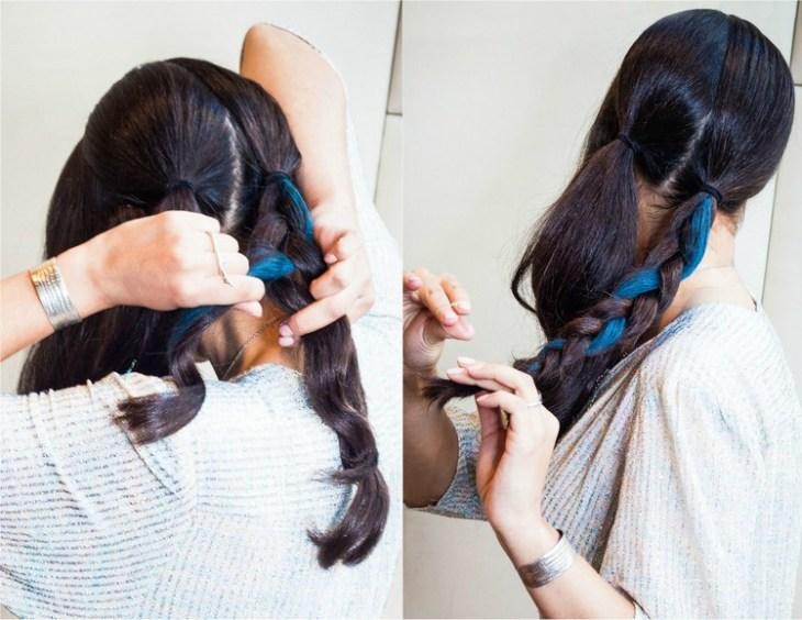 coiffure pour nouvel an tresser-queue-cheaval-craie-bleu-neon