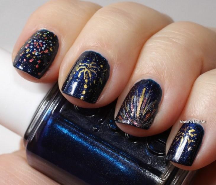 tuto nail art –nouvel-an-idee-motif-feux-artifice