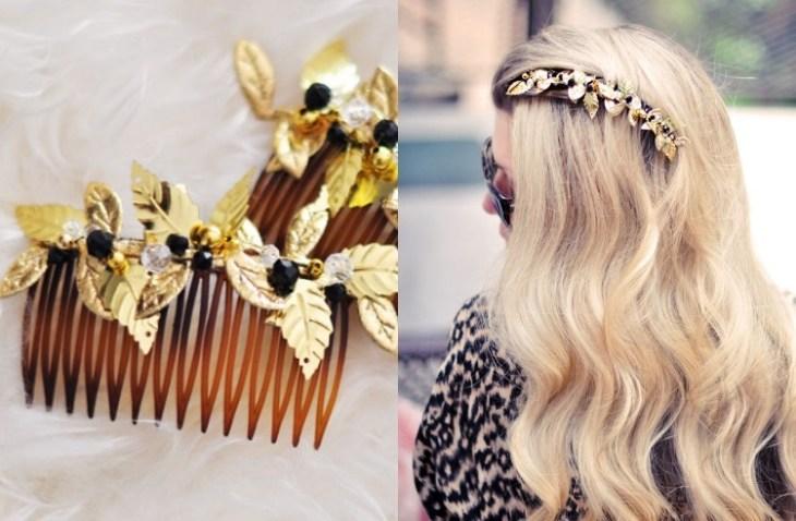 accessoire pour cheveux -peigne-cheveux-deco-feuilles-decoupees-perles-verre