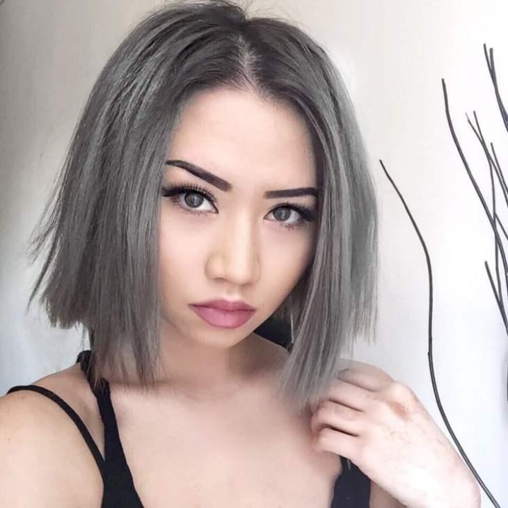 cheveux gris foncé mode 2016- coupe bob mi-long