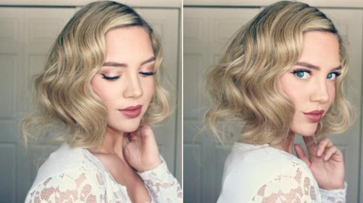 coiffure-vintage-cheveux-longs-eye-liner-rouge-lèvres-robe-dentelle