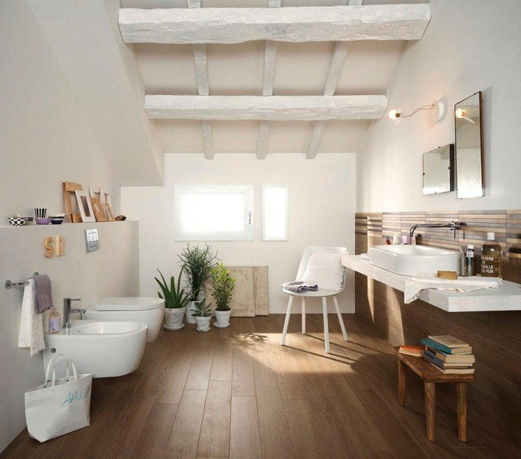 cheap parquet salle bain combles meuble lavabo poutres with parquet flottant spcial salle de bain with parquet flottant salle de bain - Parquet Flottant Special Salle De Bain