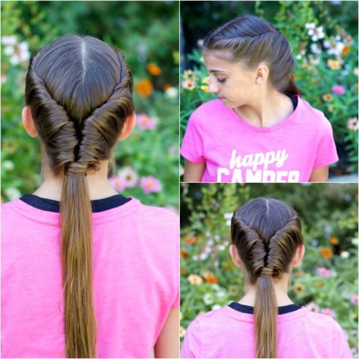 coiffure pour petite fille -tresses-twistées-queue-cheval-basse