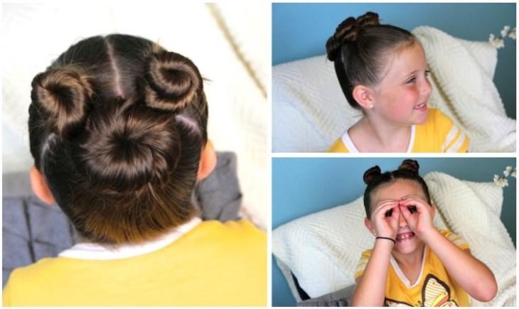coiffure pour petite fille -trois-chignons-torsadés