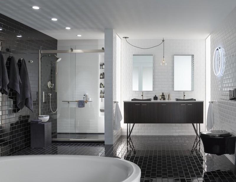 emejing photo carrelage salle de bain noir et blanc images - Photo Salle De Bain Noir Et Blanc