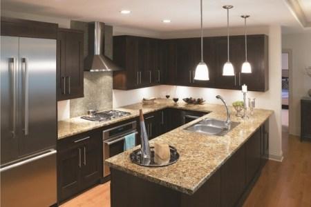u shaped kitchen design dark cabinets granite countertops