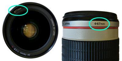 camera lens filter size