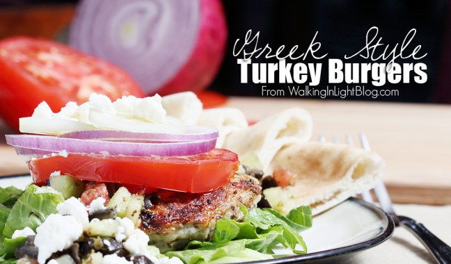 Greek Turkey Burgers from Walking in Light Blog