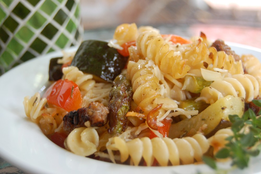 Garden Vegetable Pasta Bake (w/Italian Sausage) (1/2)