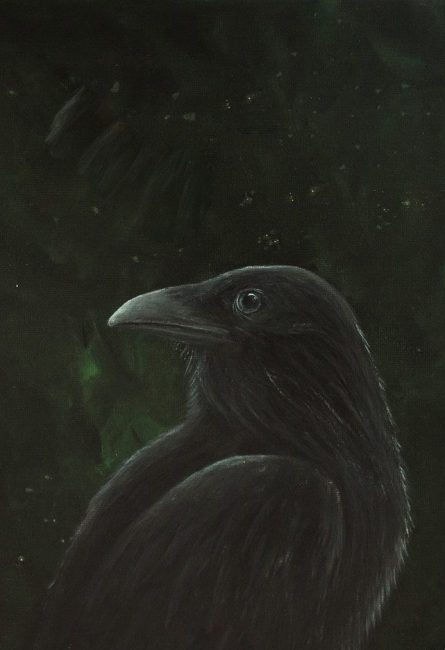 Raven and northern lights painting