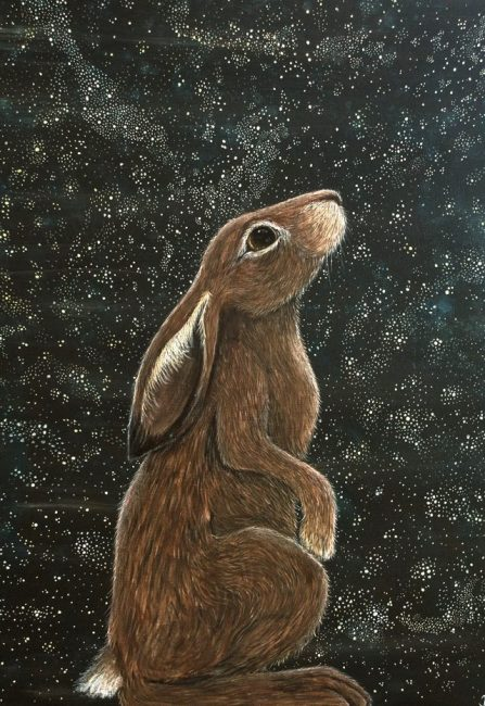 Waiting in wonder - star gazing hare painting