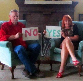Couple disagreeing, man says no, woman says yes.