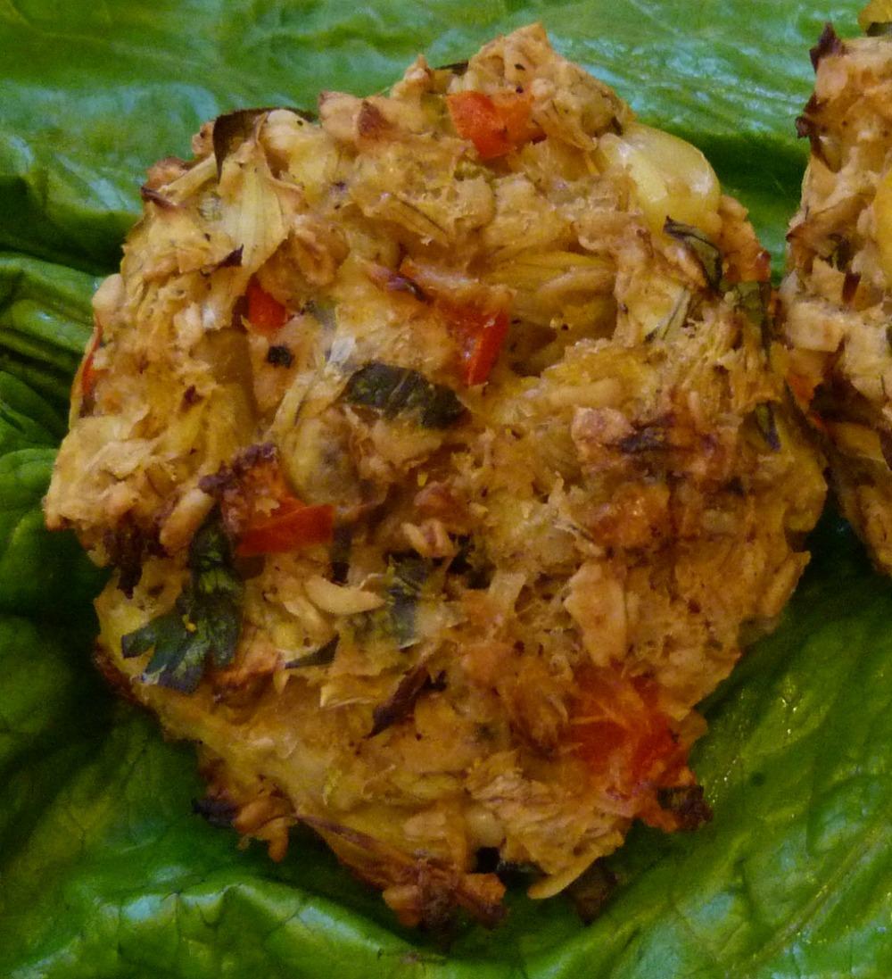 Healthy Appetizer. Vegan and glutenfree artichoke crab cakes.