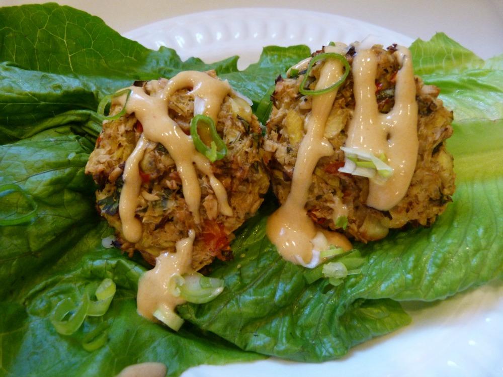 Healthy appetizer. Vegan and Glutenfree Artichoke Crab Cakes
