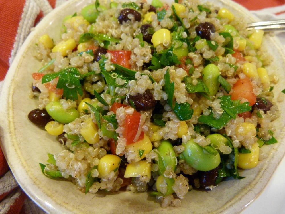 dressed quinoa salad
