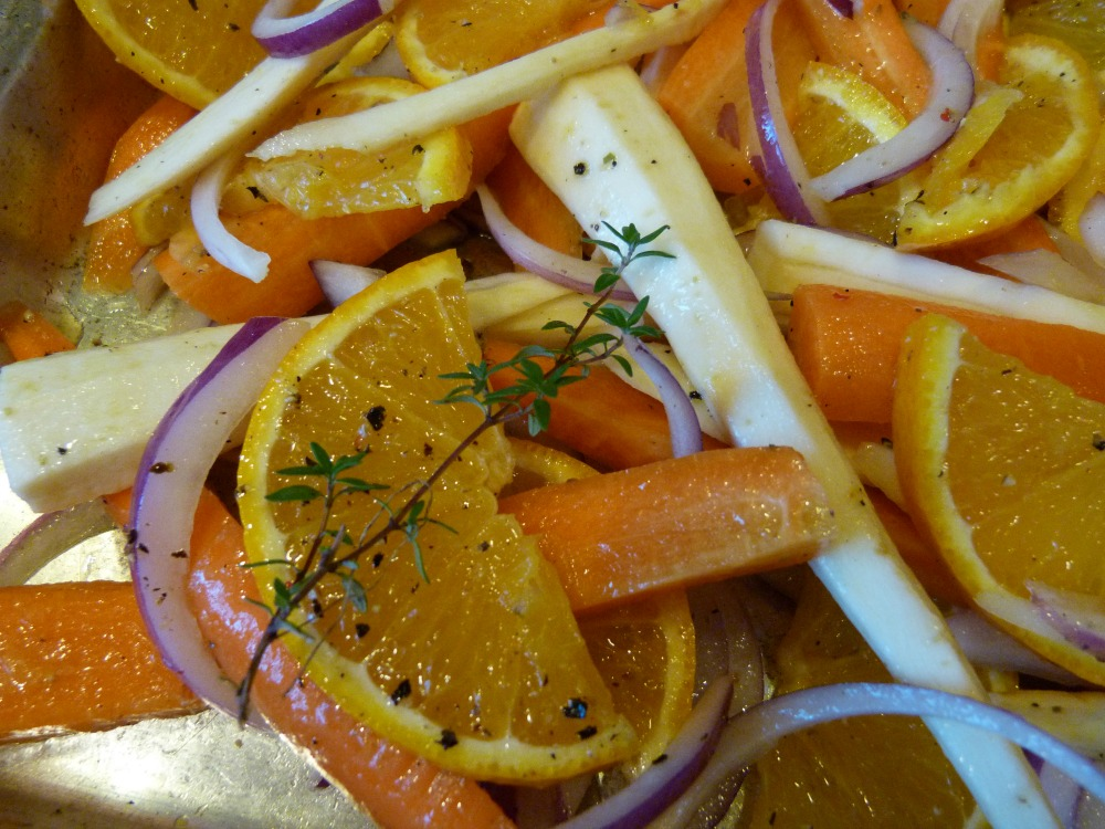Root Veggies Oranges and Thyme