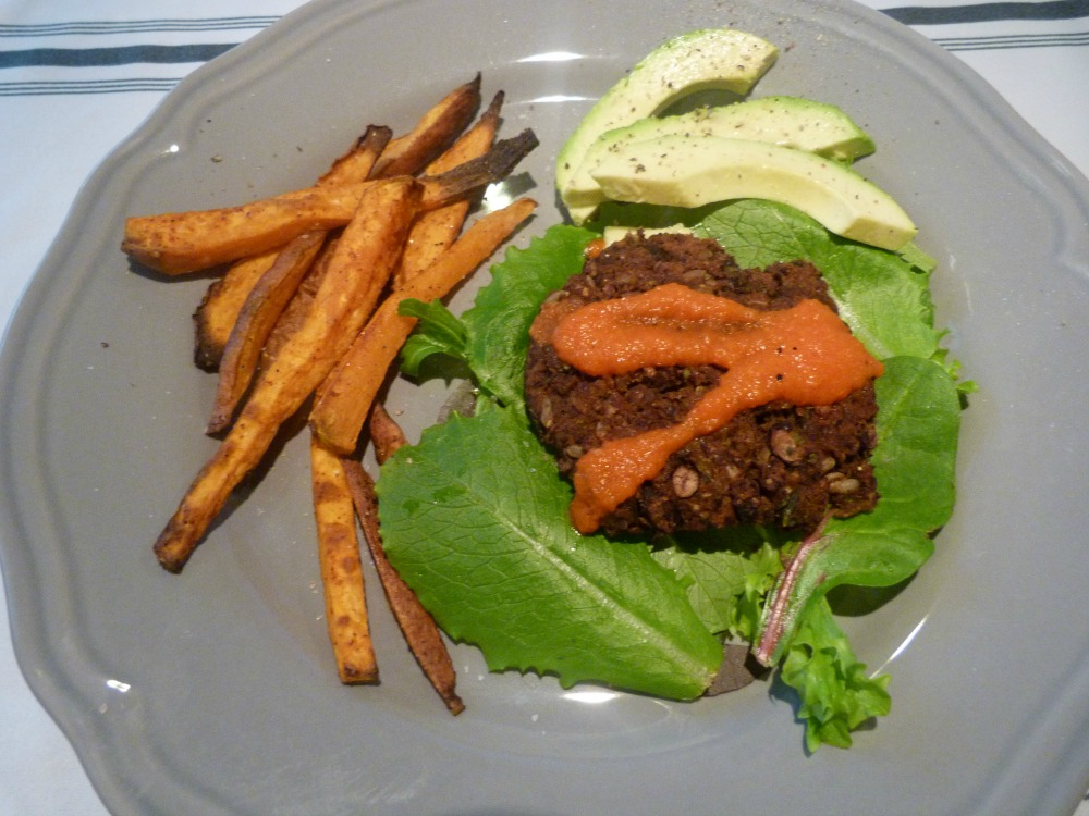 Veggie Burger with Sweet Fries and Avocado