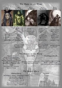 Feuille de Personnage The Lost Tribe Wade Garrett version Werewolf verso