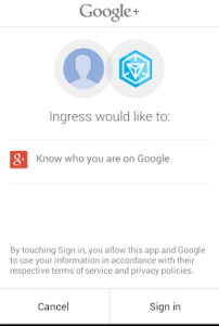 Standard Google Popup for approving Ingress -> Google link