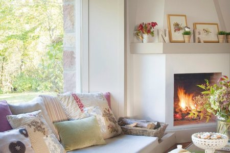 cozy living room sofa under window