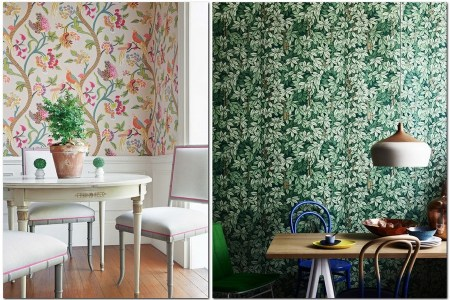 7 kitchen wall covering ideas in interior design bird motifs fl pattern ic green leaves wall panelling wooden panels white dining table chairs