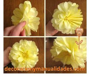 decoracion con flor de papel