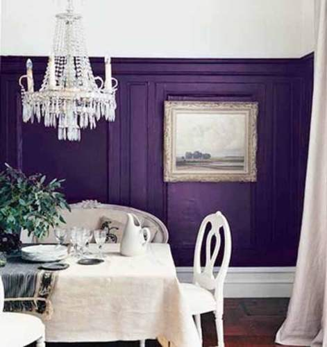 Purple Home Decor Blue Violet White Dining Room Chandelier Wainscoting Molding Art Wall Art Artwork Bench Seat White Chairs Crystal Chandelier