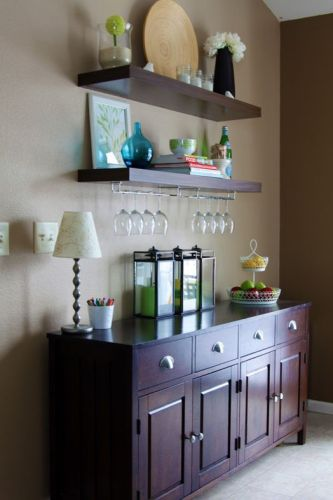 dining room cabinet with open shelves