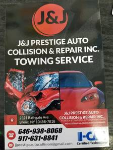Auto Body Shop in Bronx  NY    347  805 3388 J J Prestige Auto     Towing Service      Collision Repair      Auto Painting