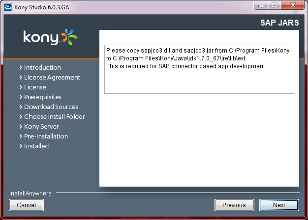 Kony Studio installer dialog box