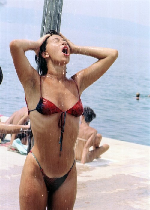 Sexy Women Bikini Beach Shower In The Summer Of 1985, Split Croatia