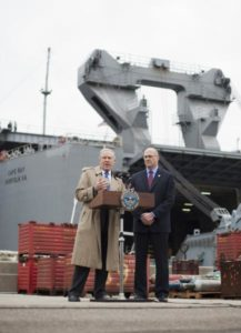 Preparing for Syrian Chemicals: Frank Kendall, left, US undersecretary of defense for acquisition, technology and logistics, and Acting Maritime Administrator Paul Jaenichen answer questions before a media tour of the MV Cape Ray. (Mike Morones/Staff)