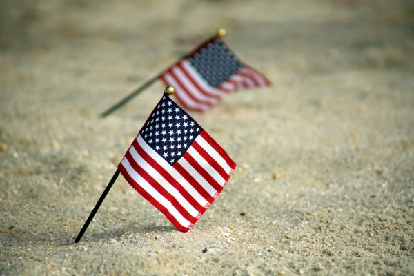 flags in sand